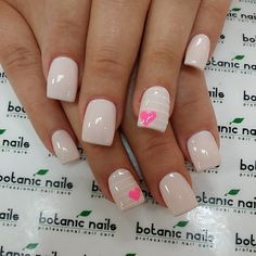 Botanic Nails - Pretty and cute. Love the color and the little hearts Fancy Nails, Love Nails, How To Do Nails, Pretty Nails, Botanic Nails, White Nails, Pink Nails, Nail Art, Heart Nails
