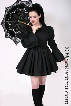 8887ac8dfc5 Black Gothic Lolita Dress with Peter Pan Collar Full Gathered Skirt and  Long Sleeves Cotton Fabric