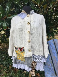 Upcycled linen Jacket ruffles XL 1X by monapaints on Etsy
