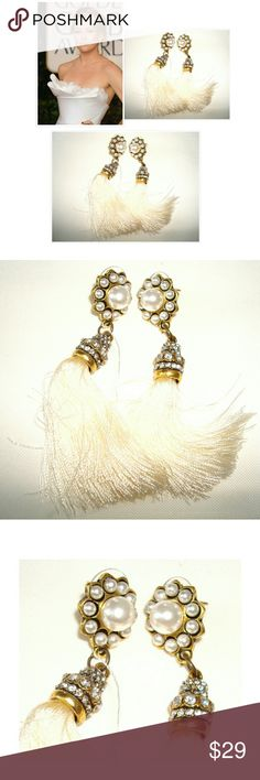 NWOT! STUNNING PEARL&DIAMOND WHITE TASSEL EARRINGS SHOW STOPPING WHITE TASSEL PEARL & DIAMOND EARRINGS  WILL DRESS UP ANY OUTFIT  BUY NOW OR BUNDLE AND SAVE @richera137 Jewelry Earrings
