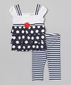 Another great find on #zulily! Navy & White Polka Dot Tunic & Leggings - Toddler & Girls #zulilyfinds