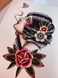 Tattoo print traditional tattoo print by Gaia Leone woman tattoo lady tattoo old school tattoo vintage tattoo print fine art print Women tattoo Traditional Tattoo Girls, Traditional Tattoo Prints, Traditional Tattoo Old School, American Traditional Tattoos, Traditional Tattoo Flash Art, Traditional Tattoo Forearm, Traditional Tattoo Sleeves, American Style Tattoo, Traditional Art