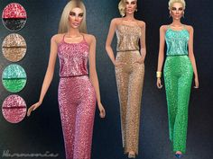 The Sims Resource: Wide-leg Pants Sequined Jumpsuit by Harmonia • Sims 4 Downloads