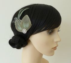 Sage Green Peacock Feather Hair Clip Fascinator Bridesmaids Accessory 'Lisette' £14.99