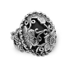 """Sunflower Black Onyx Floral Overlay Ring // i love the fact that the stone is """"barely there"""".  makes it even more eye-catching than it is in the first place."""