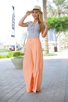 Peach Palazzo Pants + Striped  Top :: Sophie's Silhouette