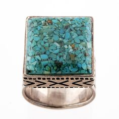 Southwestern  Sterling Silver Turquoise Micro Mosaic Chip Square Embossed Tribal Ring, Size 6.75 by OldSoulDecorMarket on Etsy