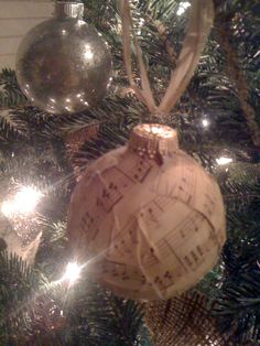 mercury glass and music note christmas ornaments