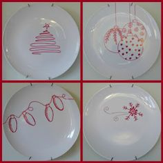 Style at Home - Make your own Plates with a sharpie, some Dollar Tree plates and. - Style at Home – Make your own Plates with a sharpie, some Dollar Tree plates and an oven - Christmas Dishes, All Things Christmas, Holiday Fun, Christmas Holidays, Christmas Decorations, Simple Christmas, Thanksgiving Holiday, Holiday Quote, Holiday Lights