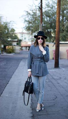 gray wool coat, gray coat for women, gray winter coat, gray pants, old navy pants, gray pants for women, gray work pants for women, kate spade heels, plaid heels, kate spade pumps