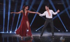 """Rumer Willis & Valentin Chmerkovskiy got 40 perfect score for dancing Rumba to """"Perhaps, Perhaps, Perhaps"""" by Doris Day on Dancing with the Stars Season 20 Week 8 'America's Choice' live performance on Monday, May 4, 2015."""