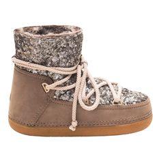 Jetzt auch für Kids!!! Cremefarbene IKKII Boots mit Fell und Pailletten
