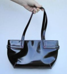 DKNY Black Patent Leather-Look Handbag Purse with Bright Purple Piping - Free Shipping $35.00