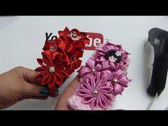 How To Make Fabric Flowers,DIY Kanzashi Flower,video 567 Rainbow Loom Charms, Rainbow Loom Bracelets, Ribbon Hair Bows, Diy Hair Bows, Making Fabric Flowers, Flower Crafts, Flower Diy, Fabric Origami, Flower Video