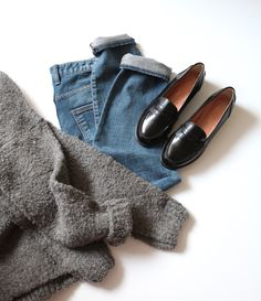 grey sweater . jeans . black penny loafersDeath by Elocution