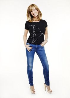 Available now and priced at the charity say that their Jeans for Genes Day limited edition T-shirt allows you to recreate the look of some of your favourite celebrities like Kate Garraway Kate Moss, Kate Galloway, Jeans For Genes Day, Celebrity Jeans, Celebrity Women, Nicola Roberts, Blue Jean Shorts, Tv Presenters, Gorgeous Women