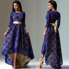 Find More Dresses Information about Free Shipping Black/Red/Royal Blue/Lake Blue O Neck Long Sleeves Lace Dress Sexy High Low Nightclub Long Women Dress   53036 2,High Quality dress calendar,China dress star Suppliers, Cheap dress up time prom dresses from Queen's Luck on Aliexpress.com