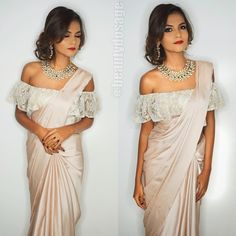 Off the shoulder blouse for saree.