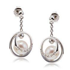 Boucles d'oreilles femme, perle de culture 8,40 ct, oxyde de zirconium 0,12 ct, argent, 3.10g - Manège à Bijoux