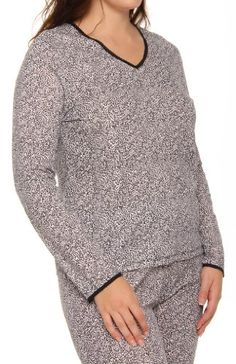 Cuddl Duds Plus Size Softwear Lace Edge Long Sleeve Top (9512035) $32.00