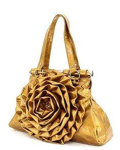 Flower Handbags Designer Inspired Purses Rosette Bags Gold