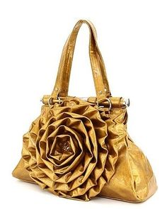Flower Handbags Designer Inspired Purses Rosette Bags Gold. I want this!!