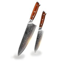 THIS TOP QUALITY CHEF'S KNIFE SET WITH HANDLE IS A GREAT TOOL TO USE IN ANY KITCHEN. Chef Knife Set, Knife Sets, Utility Knife, Damascus Steel, Beautiful Patterns, Kitchen Knives, Classic Style, Handle, How To Make