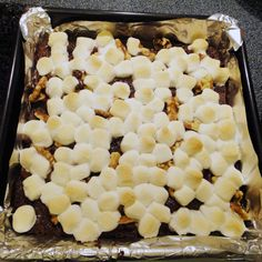 Rocky Road Lactation Brownies. Delicious and beneficial to breastfeeding.