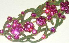 Vintage Signed Vogue Hot Pink Rhinestone Enamel Flower Brooch
