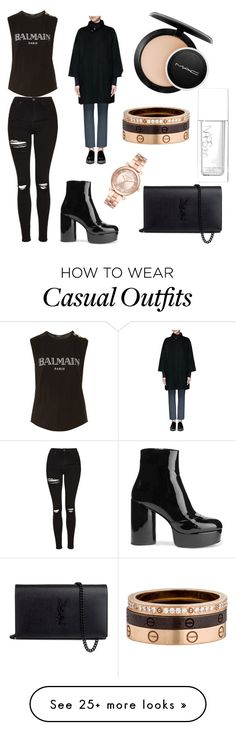 Casual black by sammogford on Polyvore featuring Balmain, Topshop, Marc Jacobs, Vince, MAC Cosmetics, NARS Cosmetics, Michael Kors, Yves Saint Laurent and Cartier