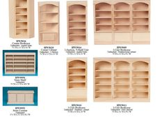 Lot of unfinished dollhouse miniature furniture bookcase New 1/12 scale