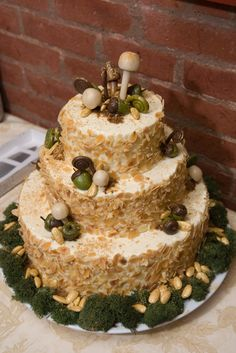 My woodland wedding cake...toast coconut for outside of a coconut cake, accent with red berries...not sure what to make the berries yet. :)