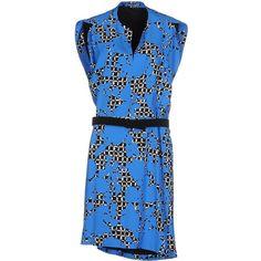Balenciaga Short Dress ($760) ❤ liked on Polyvore featuring dresses, azure, print mini dress, mini dress, v neck dress, blue mini dress and print dress