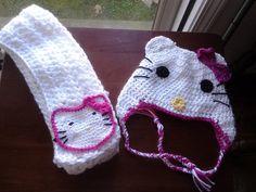 Crochet Hello Kitty Earflap Hat & Scarf Set by accessoriesbytasha, $35.00