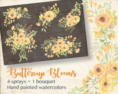 Watercolor sprays of buttercup yellow blooms; watercolor clip art; wedding clip art; weddings; instant download by LollysLaneShoppe on Etsy