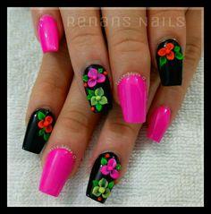 Lindo Glam Nails, Fancy Nails, 3d Nails, Nail Manicure, Cute Nails, Nail Polish, Colorful Nail Designs, Nail Art Designs, Nail Art Diy