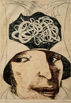 Oaxacan Sibyl / etching by Leonard Baskin  R.Michelson Galleries