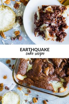 Earthquake Cake - Combination Of Cream Cheese, Chocolate Chips, Pecans, Coconut And A German Chocolate Cake Mix! All The Flavor Of A German Chocolate Cake Jumbled Together In One Easy Recipe