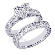 heart shape diamond wedding rings