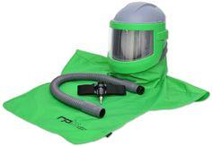 Casco Respiración Operario, protección visual y auditiva para granallado, sandblasting, dry blasting. Opción de válvulas aire frio y caliente, sistema de comunicación