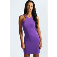 boohoo Jordan Cutaway Front Bodycon Dress - vibrant purple, vibrant purple