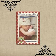 Vintage Baseball Card Birth Announcement by KateParkerDesigns, $15.00