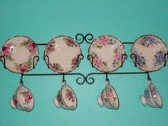 Tea Cup & Saucer Wall Display Rack-Horizontal, Black, Teacups Are Not Included