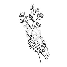 Skeleton Hand Holding Wildflowers Design Art Print by La Petite Mesange - X-Small #handtattoos Skeleton Hands Drawing, Skeleton Hand Tattoo, Skeleton Flower, Cute Skeleton, Skull Hand, Skeleton Art, Hand Holding Tattoo, Side Hand Tattoos, Hands Holding Flowers