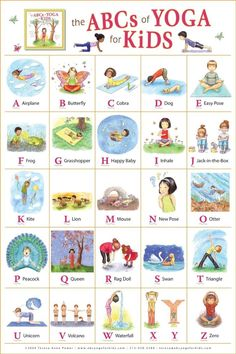 ABC yoga for kids.this would be kind of cute as a poster in my classroom. We actually do yoga on our brain breaks sometimes! Poses Yoga Enfants, Kids Yoga Poses, Yoga For Kids, Exercise For Kids, Children Exercise, Kids Workout, Abc For Kids, Kids Fun, Yoga Bebe