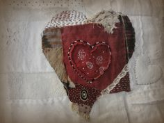 Heart by Jude Hill (spirit cloth) Art Textile, Textile Artists, Sewing Art, Sewing Crafts, Crazy Patchwork, Textiles, Heart Art, Fabric Art, Fabric Scraps