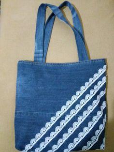 Navy Pockets Denim Bag 13.67
