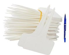 KINGLAKE 50 Pcs 236x394 White Thick Plastic Waterproof Plant Ttype Tags Markers Nursery Garden Labels ReUsable Plant Tags * Want additional info? Click on the image.