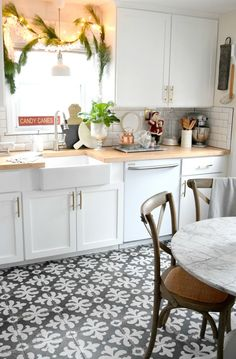 Add charming and cozy touches to your kitchen for the Holidays. Christmas Home Tour - Nesting With Grace