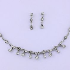 Silver Necklace & Earring with Austrian Crystals